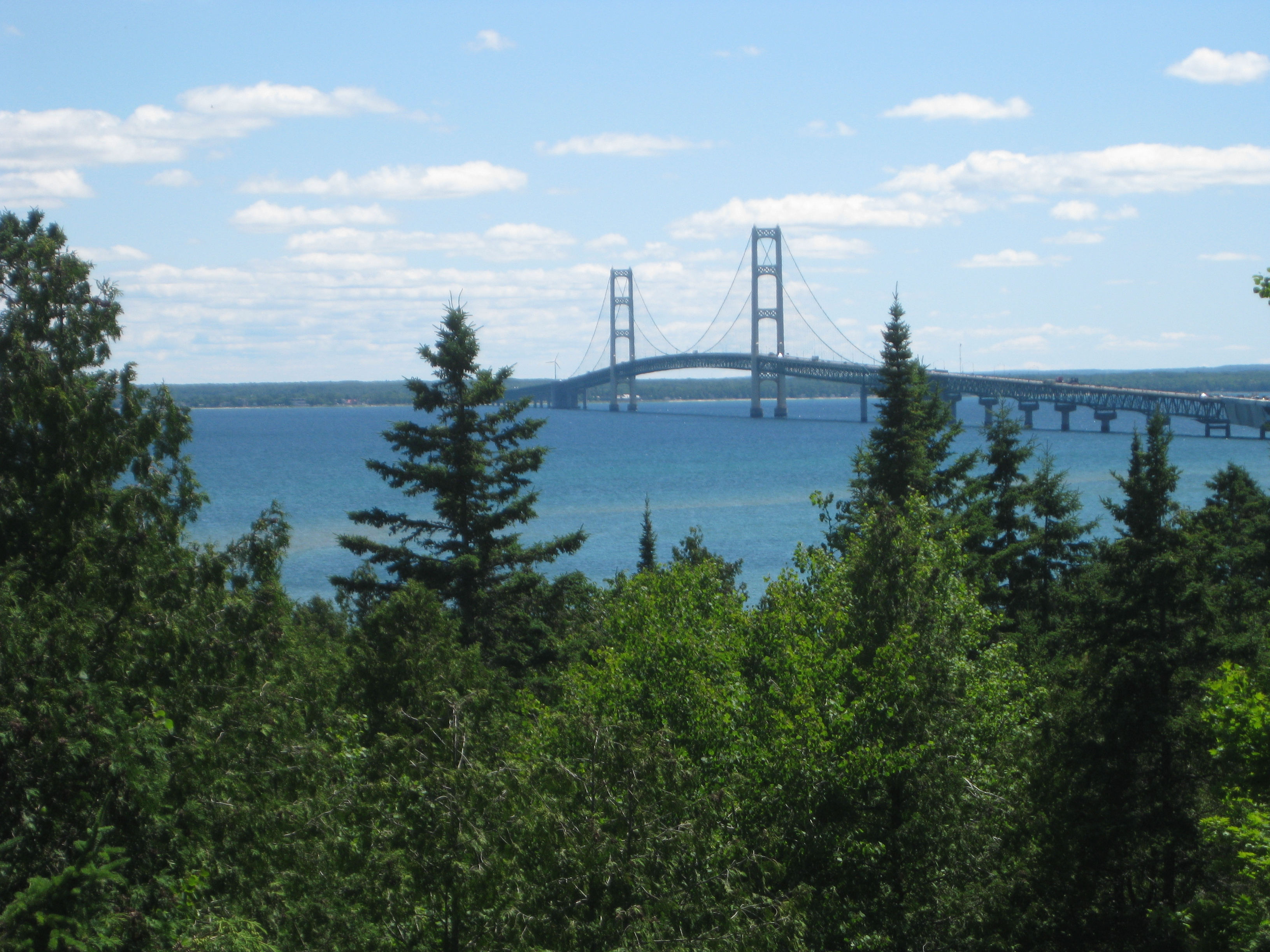 Mackinac Bridge view from the Straights State Campground